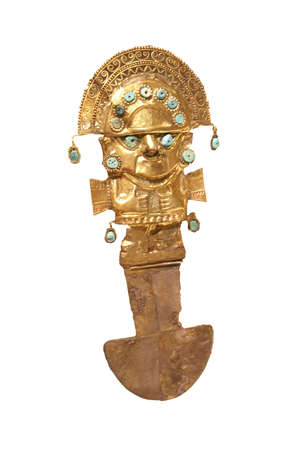 Ceremonial ritual dagger of hammered gold from Peru , 9th - 11th century CE,   版權商用圖片