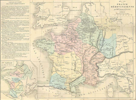 Antique map of Merovingian France,  from 1869 - Atlas Universel et Classique de Geographie, by Mm. Drioux et Ch. Leroy, Publisher: Paris: Librairie Classique d'Eugene Belin