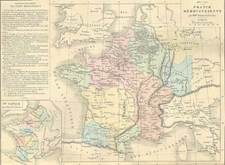 Antique map of Merovingian France,  from 1869 - Atlas Universel et Classique de Geographie, by Mm. Drioux et Ch. Leroy, Publisher: Paris: Librairie Classique d'Eugene Belin  Editorial