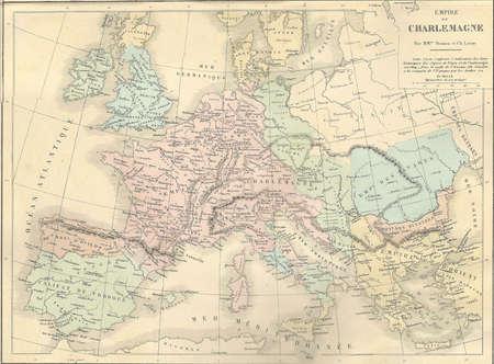 Antique map of France under Charlemagne,  from 1869 - Atlas Universel et Classique de Geographie, by Mm. Drioux et Ch. Leroy, Publisher: Paris: Librairie Classique d'Eugene Belin