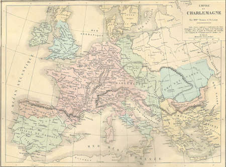 Antique map of France under Charlemagne,  from 1869 - Atlas Universel et Classique de Geographie, by Mm. Drioux et Ch. Leroy, Publisher: Paris: Librairie Classique dEugene Belin   Publikacyjne