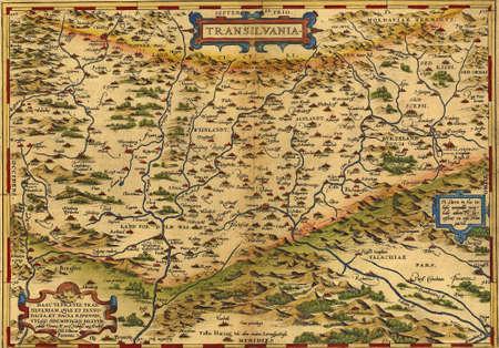 Antique Map of Transylvania, Romania by Abraham Ortelius, circa 1570
