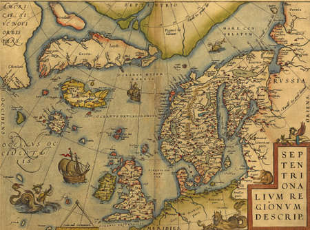 Antique Map of the North Sea - England, Scandinavia and Iceland  by Abraham Ortelius, circa 1570