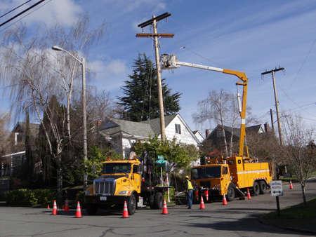 zastąpić: Seattle - 7 lutego - Seattle robotnicy City Light zastąpić starzejącą biegun użytkowej w ramach projektu miasta szerokiej poprawy niezawodności elektrycznej, na 7 lutego 2013 w Seattle.