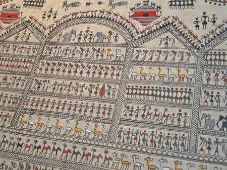 puri: Traditional Orissan tribal painting in Puri, India