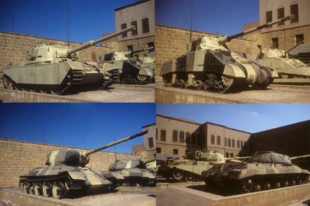 israeli: Russian and British tanks originally from World War II, then used in Arab - Israeli wars, Military Museum, CitadelCairoEgypt, Middle East   Stock Photo
