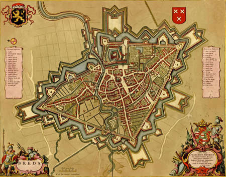 Antique map of  Breda, Netherlands. Atlas of fortifications and battles, by Anna Beek and Gaspar Baillieu  Originally published in 17th century.