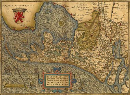Antique Map of Holland,  by Abraham Ortelius, circa 1570