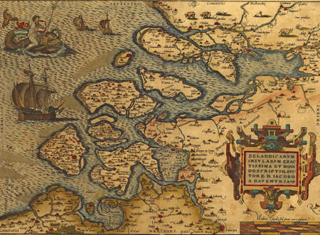 europe: Antique Map of the Netherlands,  by Abraham Ortelius, circa 1570   Stock Photo