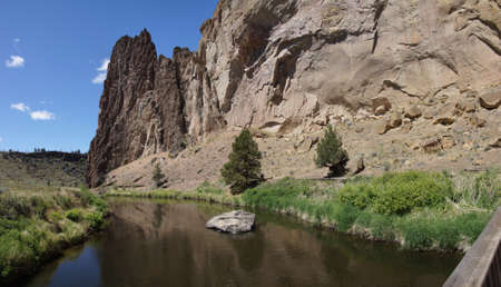 smith rock: Panorama, valley floor of the Crooked River  near Smith Rock State Park, Central Oregon   Stock Photo