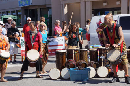 PENTICTON, BRITISH COLUMBIA - Jun 15 - The Okanagan Drum group performs at the Saturday market on Jun 15, 2013 in Penticton, British Columbia, Canada