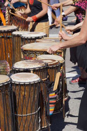 Drummers playing at a Saturday market Penticton, British Columbia, Canada Stock fotó - 20313906