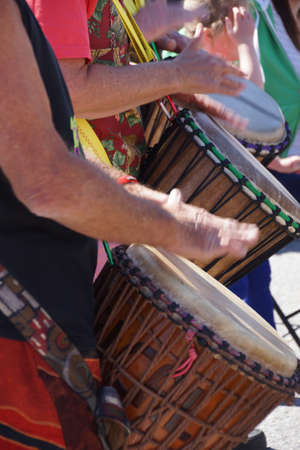 Drummers playing at a Saturday market Penticton, British Columbia, Canada Stock fotó - 20313945
