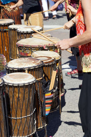 Drummers playing at a Saturday market Penticton, British Columbia, Canada Stock fotó - 20405790