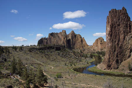 smith rock: Valley floor of the Crooked River  near Smith Rock State Park, Central Oregon   Stock Photo
