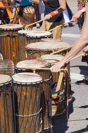 Drummers playing at a Saturday market Penticton, British Columbia, Canada Stock fotó - 20583413