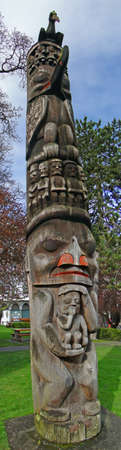 northwest indian art: Totem pole carved from cedar, Thunderbird Park, Victoria, BC, Canada