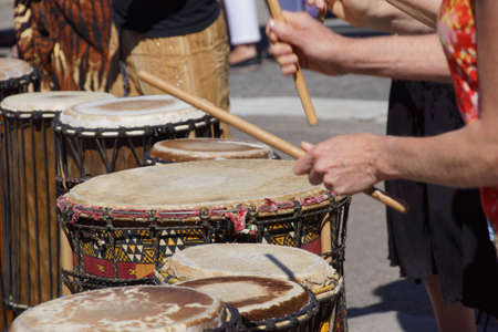 Drummers playing at a Saturday market Penticton, British Columbia, Canada