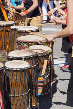 Drummers playing at a Saturday market Penticton, British Columbia, Canada Stock fotó - 20583494