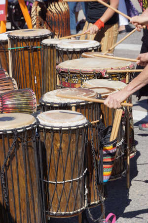 Drummers playing at a Saturday market Penticton, British Columbia, Canada Stock fotó - 20885637