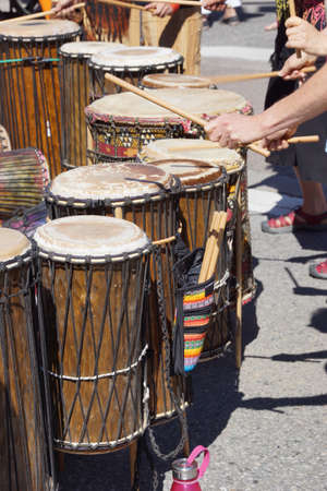 Drummers playing at a Saturday market Penticton, British Columbia, Canada Stock fotó - 21614269