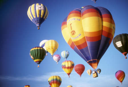 Hot air balloons against blue sky, International Balloon Festival, Albuquerque, New Mexico