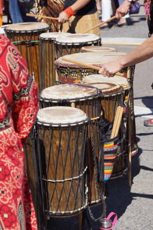 Drummers playing at a Saturday market Penticton, British Columbia, Canada Stock fotó - 21614394