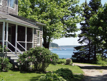 cape cod style: Classic white New England House,on Mount Desert Island, Acadia National park, Maine, New England