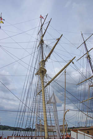 Masts, rigging and yardarms of 19th century sailing ship, Old Mystic Seaport, Connecticut   Stok Fotoğraf