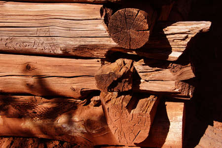 west end: Detail of pioneer log cabin  along the Taylor Creek trail, Kolob Canyon, Zion National Park, Utah