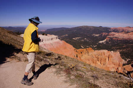spectra: Hiker walking along Spectra Point  in Cedar Breaks National Monument, Utah   Stock Photo