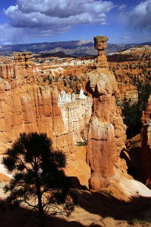 thor's: Thors Hammer, balanced rock hoodoo of eroded sandstone pinnacle,Bryce Canyon National Park, Utah  Stock Photo