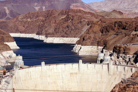 mead: Hoover Dam,  Lake Mead and Colorado River  on the border of Arizona and Nevada   Stock Photo