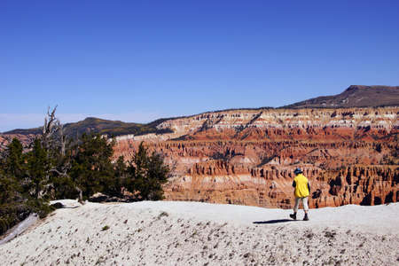 spectra: Hiker walking along Spectra Point  in Cedar Breaks National Monument, Utah
