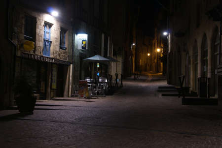 Empty streets in the old town  late in the evening  in Figeac, France   Sajtókép