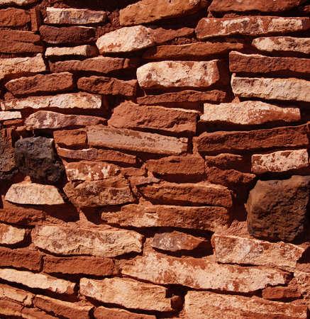 pueblo: Detail, stone wall of ancient pueblo house, Wupatki National Monument, Arizona   Stock Photo
