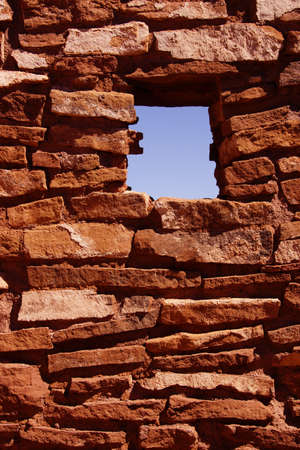 pueblo: Detail, ancient stone walls,  Lomaki Pueblo, Wupatki National Monument, Arizona   Stock Photo