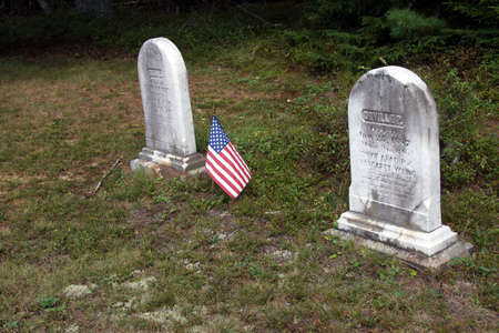 19th century: Old tombstones from 19th century in an old New England cemetery on Mount Desert Island,  Maine  Stock Photo