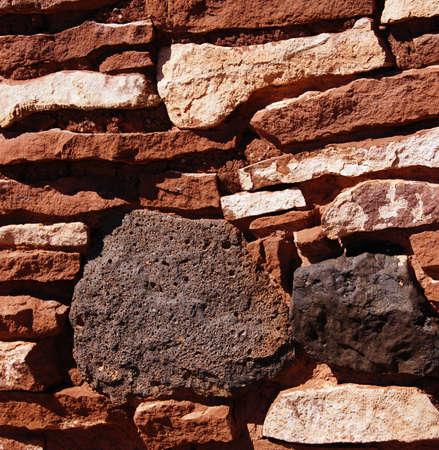 pueblo: Detail, stone wall of ancient pueblo house, Wupatki National Monument, Arizona