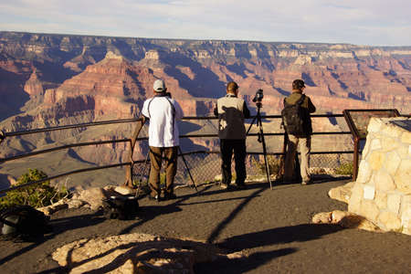 GRAND CANYON, ARIZONA - SEP 29 - Tourists take picutres near Powell Point,  on Sep 29, 2013 just before the government shutdown, at the Grand Canyon National Park, Arizona