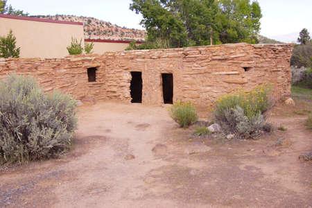 anasazi: Exterior of Anasazi Pueblo,   circa1050 - 120 CE,  Anasazi State Park Museum,  , Boulder, Utah