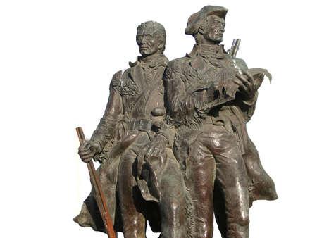 Standbeeld van ontdekkingsreizigers Lewis en Clark op het einde van het parcours in Seaside Oregon Stockfoto