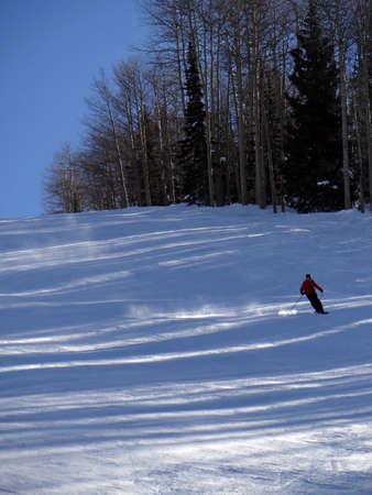 Silhouette of skier on the Tornado piste run Steamboat Springs, Colorado.. Stock fotó
