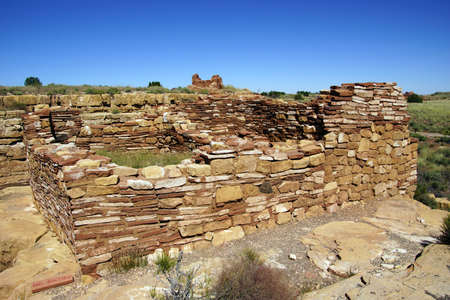 pueblo: Ruins of houses of the  Lomaki Pueblo, Wupatki National Monument, Arizona   Stock Photo