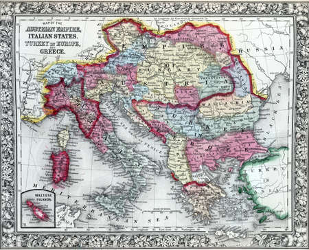 Antique map of the Austrian Empire, Italian States and Turkey in Europe and Greece  Creator  Mitchell, Samuel Augustus, 1792-1868;    Mitchell s new general atlas, containing maps of the various countries of the world, plans of cities, etc Modified from t