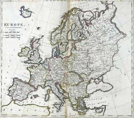 Antique map of Europe from 18th century atlas Creator: Carey, Mathew, 1760-1839.