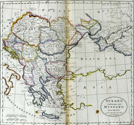 Antique map of Turkey in Europe and Hungary from 18th century atlas Creator  Carey, Mathew, 1760-1839 Modified from the map released under Creative Commons license from the Lionel Pincus   Princess Firyal Map Division, The New York Public Library