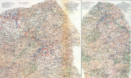 reb: Maps of Shermans Campaigns against Atlanta, Georgia 1864 from Atlas to Accompany the Official Records of the Union & Confederate Armies, 1861 - 1865