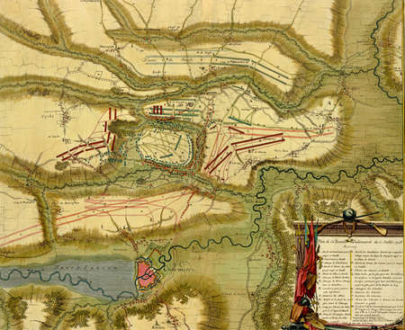 Antique map of  battle of  Oudenaarde, Belgium , 1708 Atlas of fortifications and battles, by Anna Beek and Gaspar Baillieu  Originally published in 18th century.