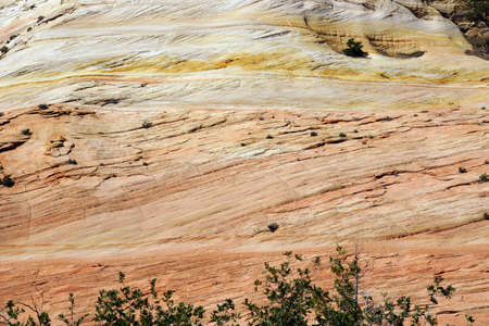 Detail, cross current layers of colored sandstone, created from fossilized dunes and shifting winds over millions of years, Zion National Park, Utah Stock fotó